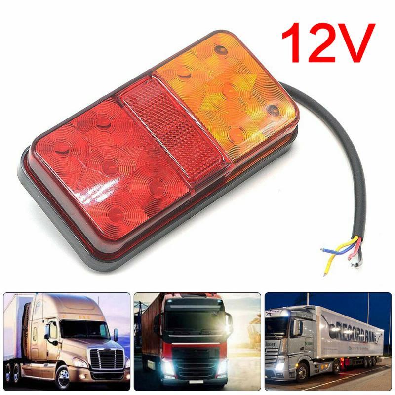 2 Pcs 12V Waterproof Durable Car Truck LED Rear Tail Light Warning Lights Rear Stop Brake Indicator Truck Van Lamp Trailer Light
