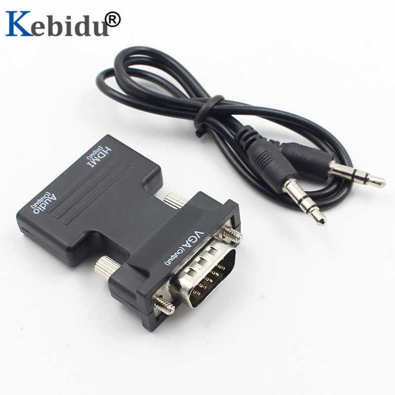 Kebidu 1080P HDMI to VGA Converter Adapter with Audio Female to Male Cables for HDTV Monitor Projector PC PS3 Adapter Converter