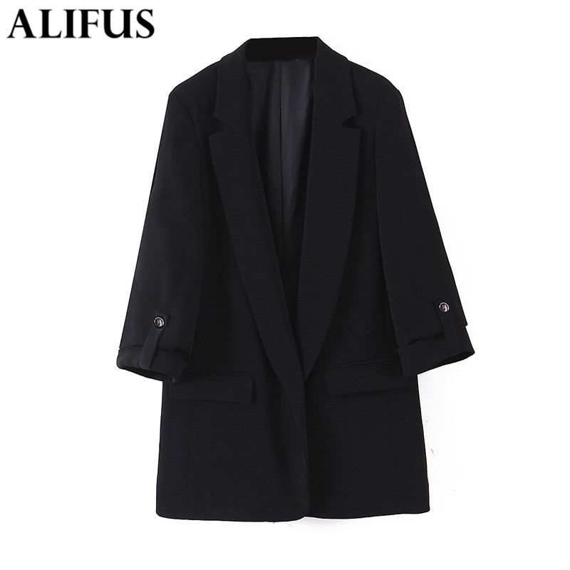 Fashion Za Women Blazers  2020 Elegant Solid Office Lady Blazer Coat Long Sleeve Notched Collar Ladies Outerwear Chic Tops