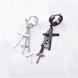 1 Piece Punk Gothic Stainless Steel Stud Cross Round Piercing Drop Earrings Fashion Women Men Ear Clip Rock Jewelry
