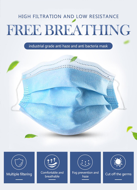 50 Pcs Disposable N95 Mask 3 Ply Face Mouth Masks Flu Nonwoven Anti Virus Dust Earloops Filter Masks Respirator Face Mouth Masks 1