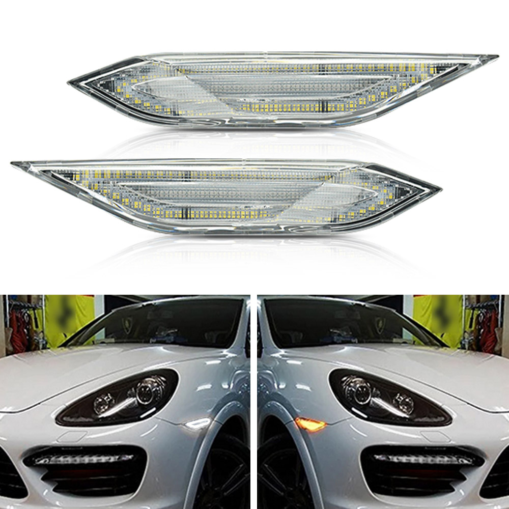 NSLUMO Amber White LED Side Marker Lights for Porsche Cayenne 958 Gen 2011-2014 Clear Lens Front Bumper Side Marker Switchback Amber Turn Signal /& White Running Lights