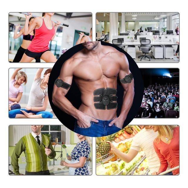 EMS Wireless Abdominal Muscle Stimulator Smart Trainer Muscle Toning Belts Electric Weight Loss Massager Body Slimming Unisex 3