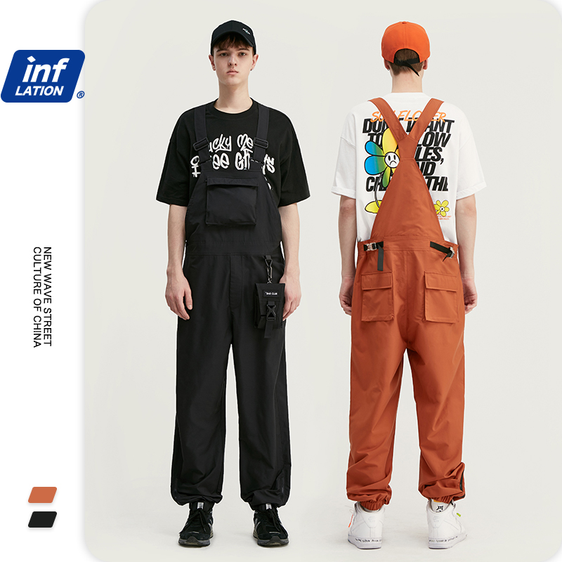 INFLATION 2020 SS Collection Mens Overalls Broadcloth Loose Fit Casual Polyester Hip Hop Streetwear Mens Casual Overalls 3026S20