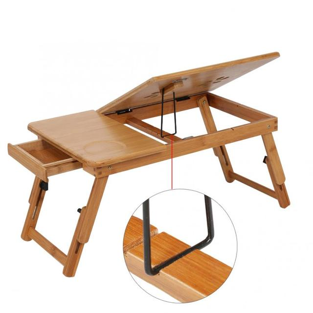 Adjustable Bamboo Rack Shelf Dormitory Bed Lap Desk Two Flowers Book Reading Tray Stand 6