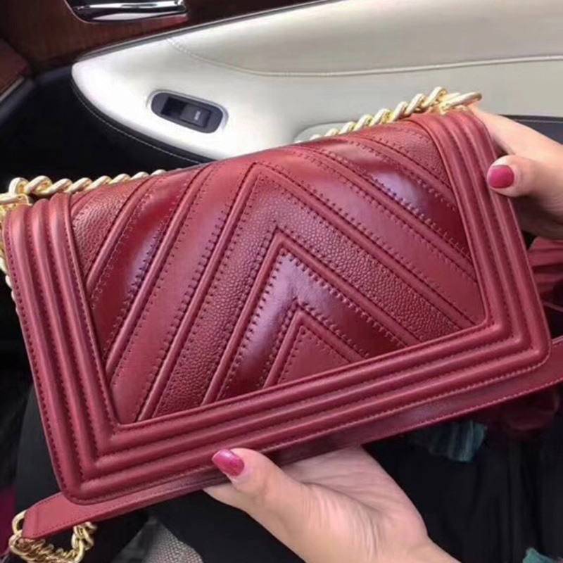 Women luxury brand handbags top quality leather shoulder bag designer purse patchwork V caviar chain bag - 15 Main Characteristics of Stylish Handbags for Women