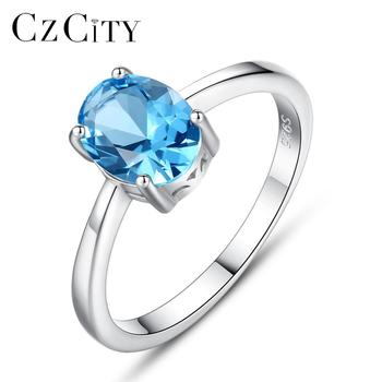 CZCITY Natural Solitaire Sky Blue Oval Topaz Stone Sterling Silver Ring For Women Fashion S925 Fine Jewelry Finger Band Rings charms genuine london blue topaz women engagement ring solid 925 sterling sliver fashion natural stone jewelry 2015 new arrival