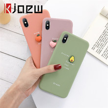 KJOEW 3D Avocado Letter Phone Case For iPhone XS MAX XR X Candy Color Soft TPU Silicone Case For iPhone 7 6 6S 8 Plus TPU Cover(China)