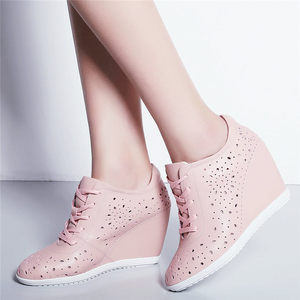 Image 5 - Trainers Women Breathable Genuine Leather Wedges High Heel Pumps Shoes Female Lace Up Summer Platform Ankle Boots Casual Shoes