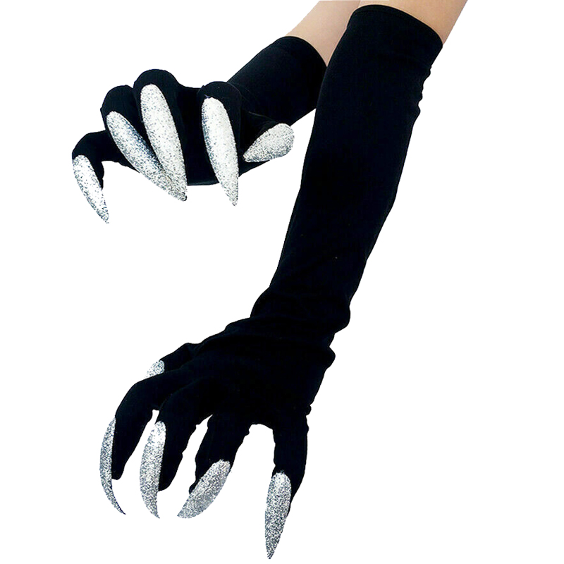 Goocheer Halloween Long Nails Gloves Witch Cosplay Costume Party Adult Fancy Props Black Adult Unisex Halloween Gothic  Gloves