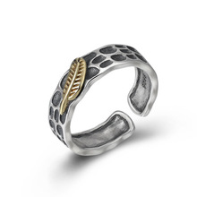 925 Sterling Silver Jewelry Men Women Indian Feather Opening Ring Christmas gift Couple Ring недорого