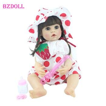 55cm Full Silicone Reborn Baby Doll Toy Vinyl Dress Up Long Hair Princess Toddler Girl Birthday Gift Play House Toy Boneca