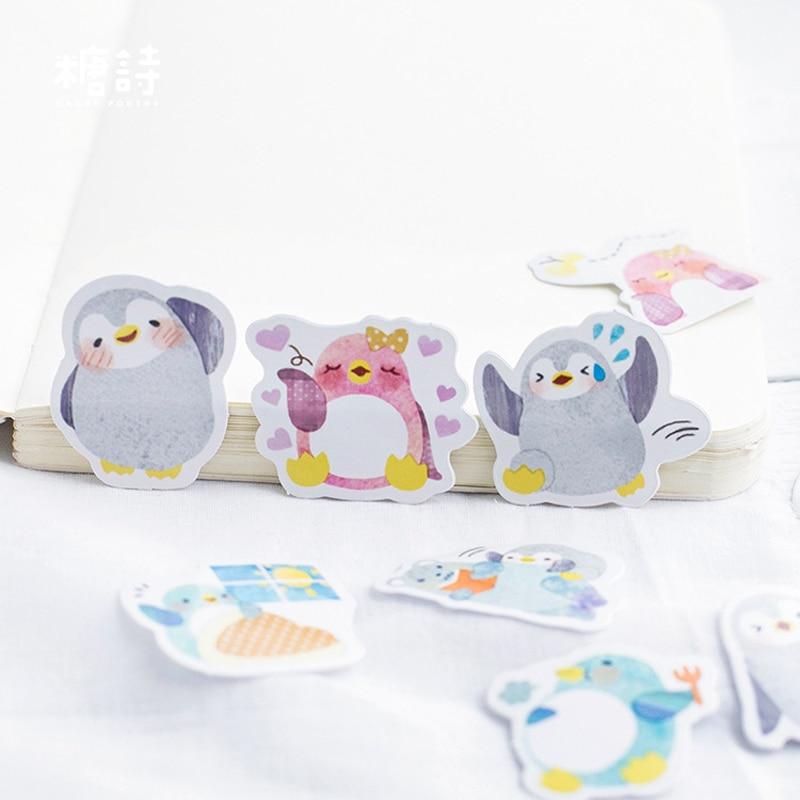 45 Pcs /Box Cute Little Penguin Paper Decorative Stickers Stick Label