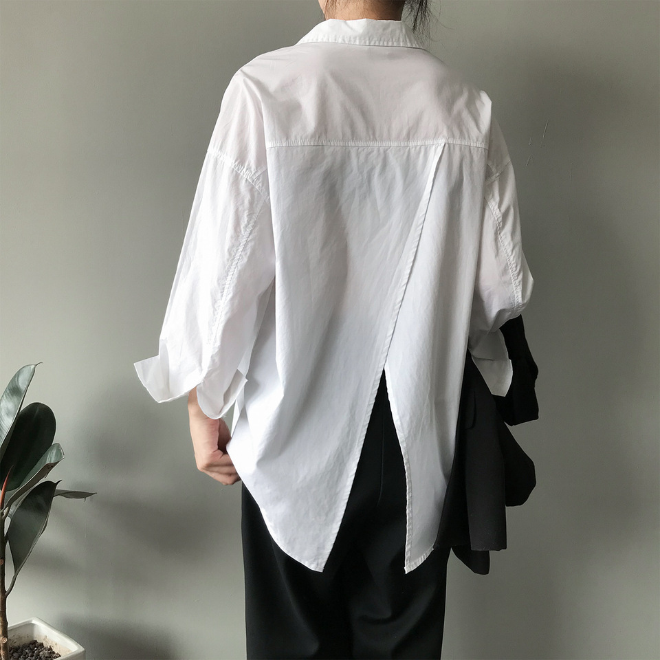 Women Tops Korean Fashion Button Up Shirt 5 New Fashionable Design Back  Slit Split Long Sleeve Loose Oversize Cotton Tops