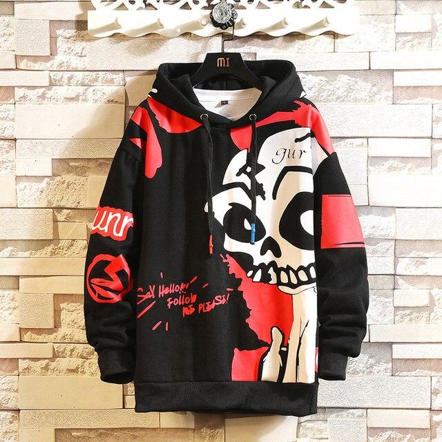 Sweat Capuche Hip Hop Crâne Skull Hommes Streetwear