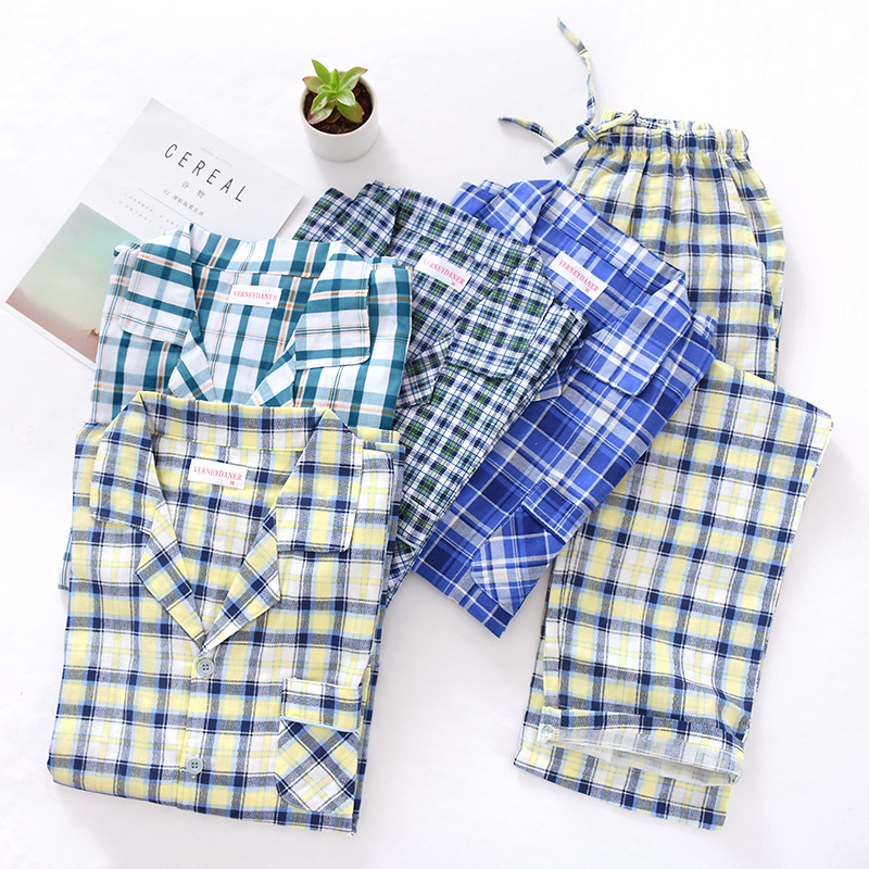 Men's Cotton Gauze Plaid Pajama Suit Autumn Thin Long Sleeve Nightwear Turn-down Collar Men Pijamas Big Size Sleepwear For 100kg