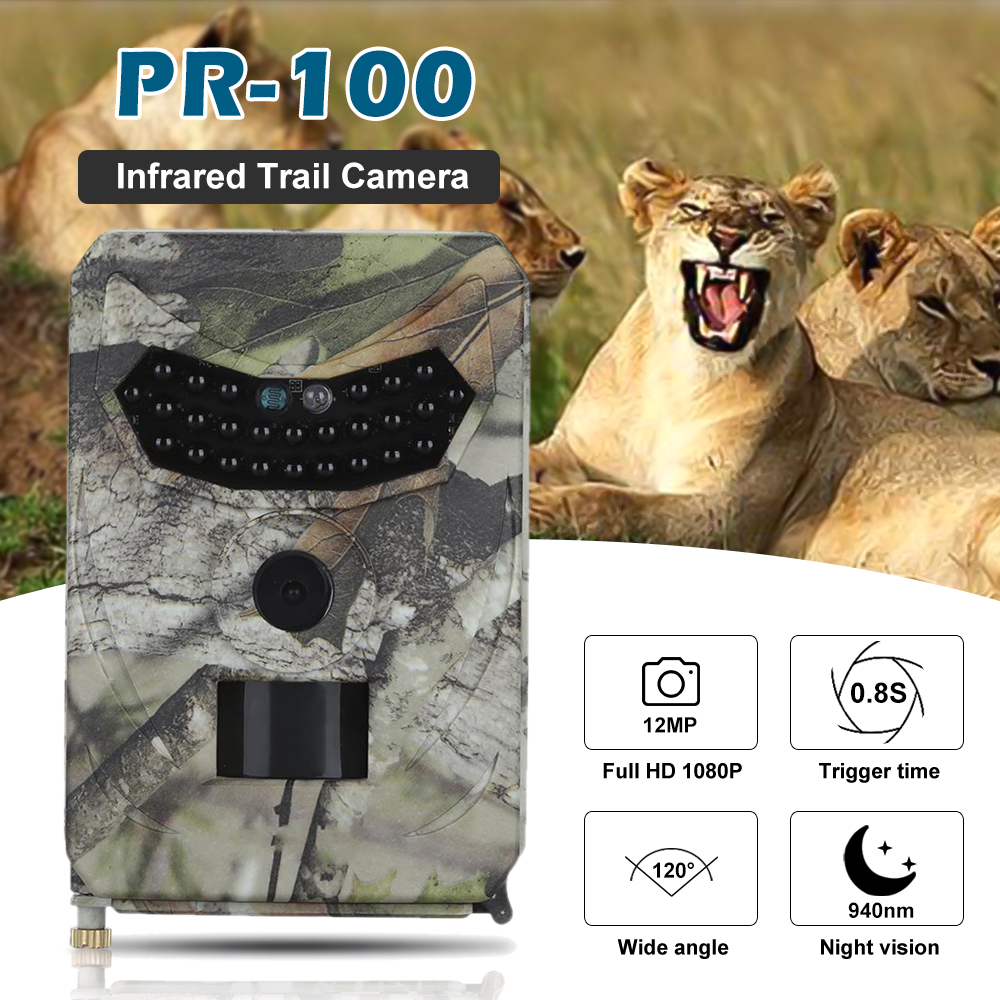 Outdoor 12MP 1080P Hunting Camera Outlife PR 100 Trail Camera Waterproof Wildlife Night Vision Photo Traps Trail Cameras Video Hunting Cameras     - title=