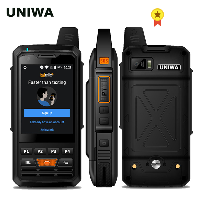 UNIWA F50 <font><b>4G</b></font> LTE Globale Zello Robusten PTT Walkie Talkie 2.8 ''Touch Screen 8GB ROM 4000mAh android 6,0 Quad Core <font><b>4G</b></font> Smartphone image