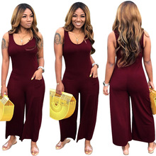 Echoine Sleeveless O-neck Jumpsuit Wide Leg Sexy Women Rompers Summer combinaison femme Casual Elegant Bodysuit Overalls