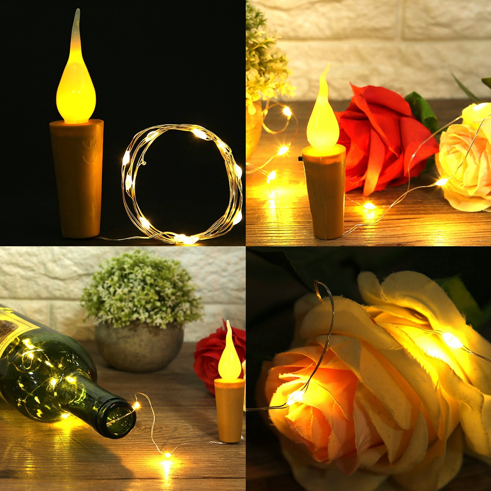 10PCS Cork Shape String Light Bottle Plug LED Lamp Battery Powered For Christmas Wedding Fairy Light Decoration