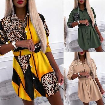 2021 Womens Long Sleeve Shirt Dress Mini Dress OL Ladies Casual Tops Shirt Blouse Tee Spring All-Match Blusas mujer de moda F 1
