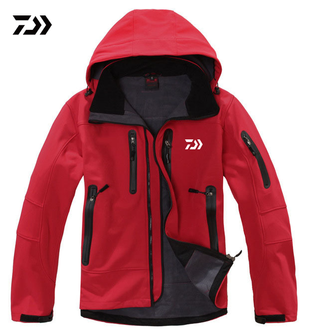 2019 New  Fishing Jackets Men Outdoor Waterproof Fleece Warm Climbing Fishing Clothing Hooded Soft Shell Fishing Clothes