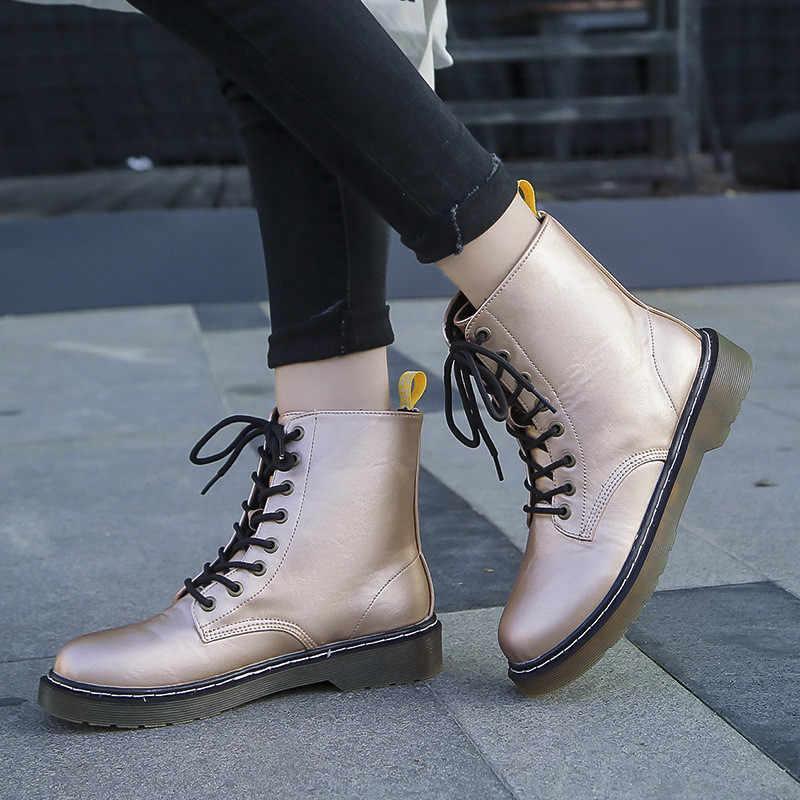 Kış kadın Biker yarım çizmeler PU deri Lace Up dikiş kauçuk temel yuvarlak Toe platformu Punk kadın bayanlar ayakkabı Botas Mujer