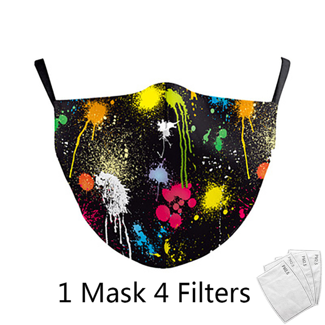 4Pcs Filter Classic Van Gogh Oil Draw Print fashion Face Masks  Adult mask Reusable Washable Fabric Mouth Mask PM 2.5 Dust Masks 2