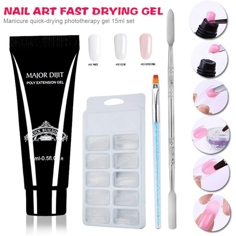 Prego quente poly gel kit extensão do prego seco polygel construtor manicure escova 15ml poli extensão gel cnt 66