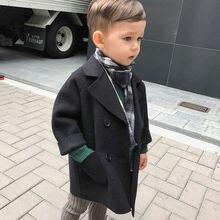 Зимние куртки, однотонный шерстяной двубортный плащ для маленьких мальчиков, верхняя одежда для детей 1, 2, 3, 4, 5 лет, пальто, шерстяное пальто для мальчиков