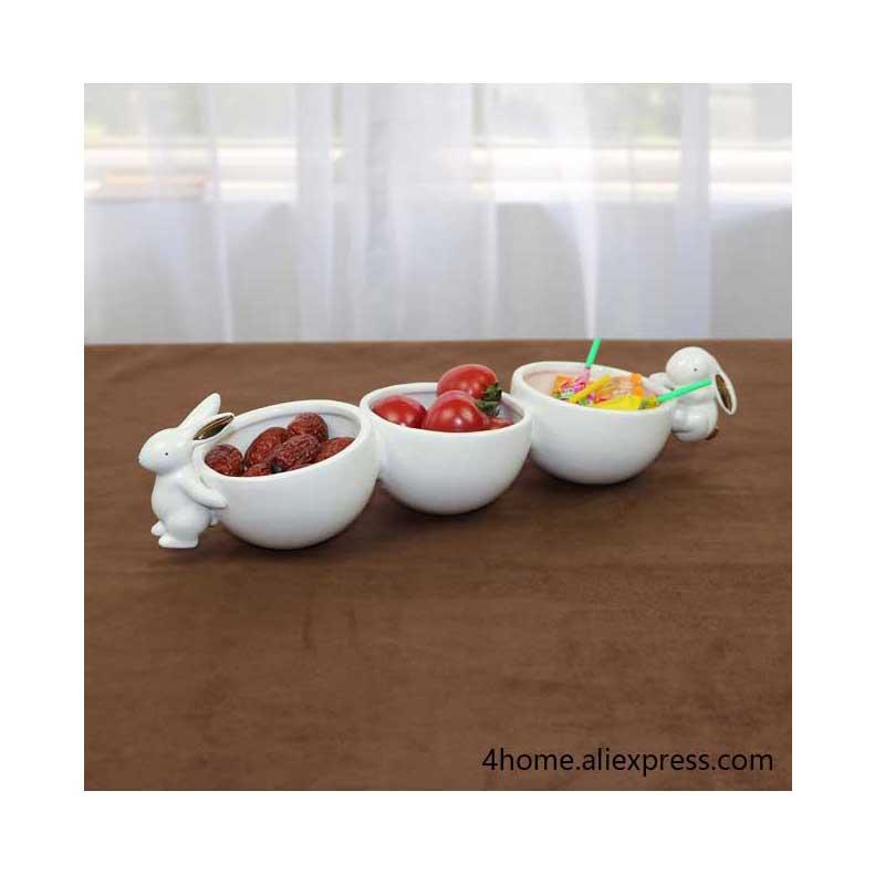 Easter bunny Bowl Decorative Ceramics Rabbit Fruit Plate Snack Organizer|Bowls & Plates|Home & Garden - title=