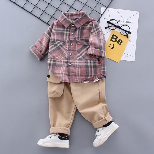 Boy Plaid Khaki Suit 2