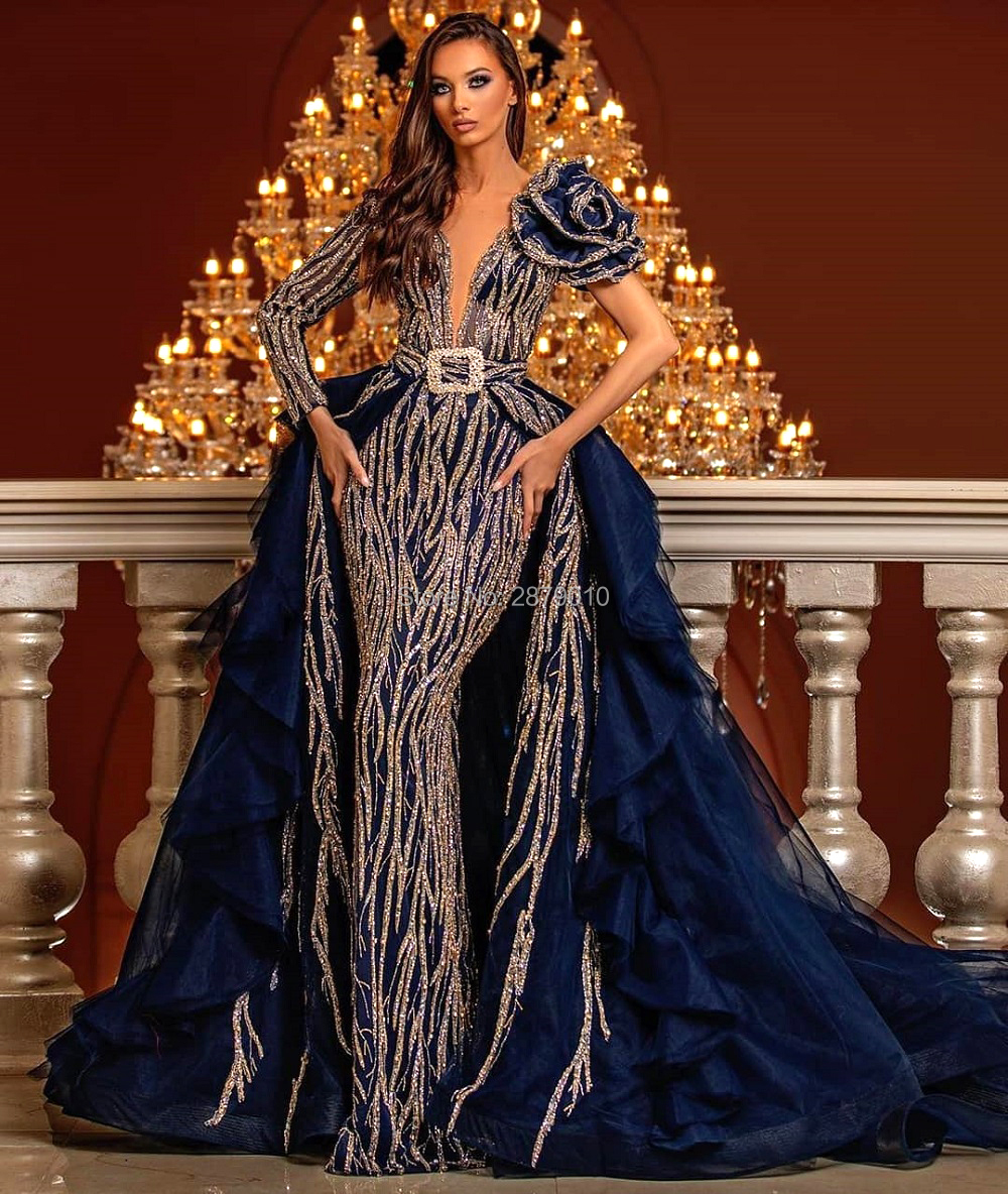 Haute Couture V-Neck Mermaid Evening Dress Removable Skirt Floor-Length Beaded Sequins Celebrity Dress Robe De Soiree Aibye