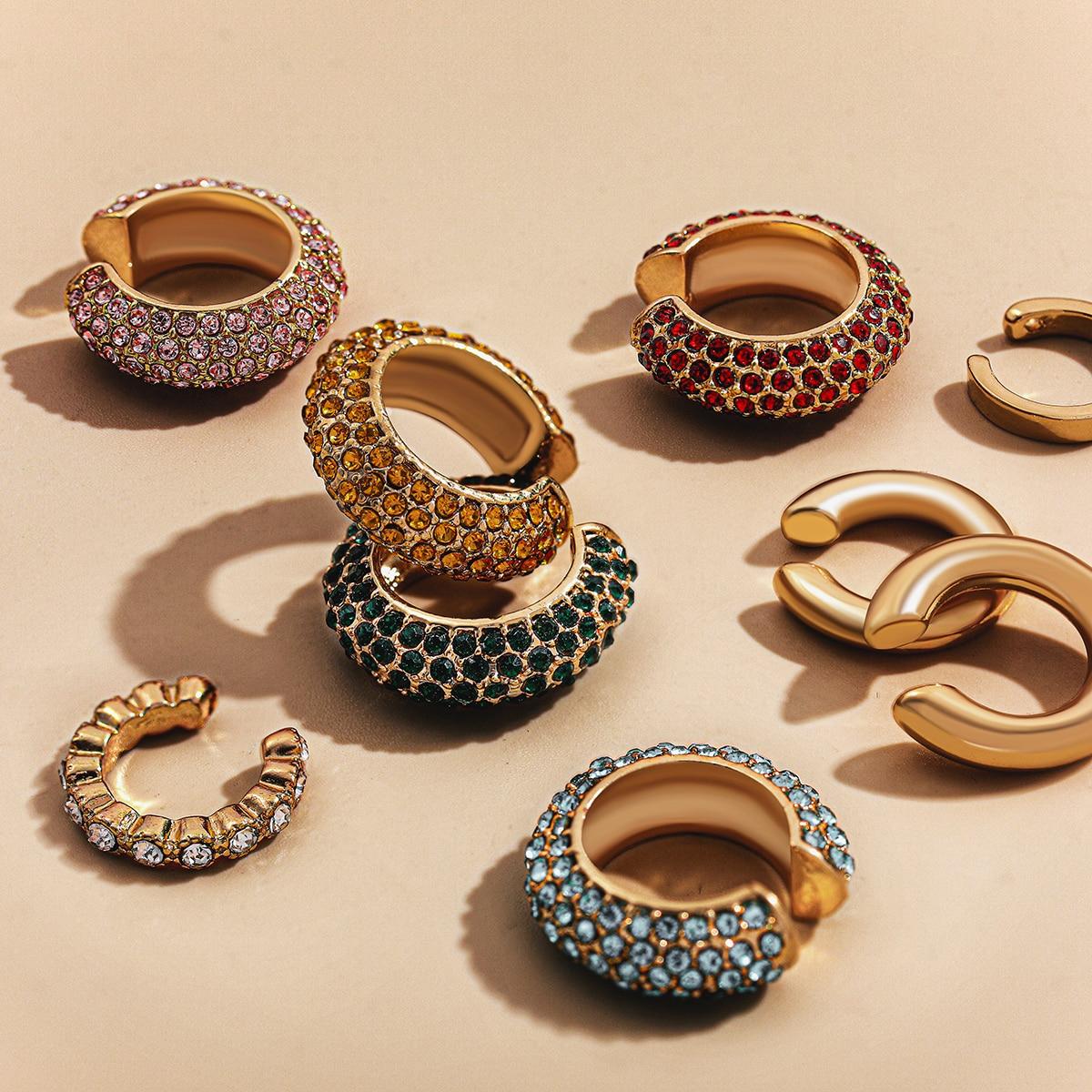 Pendientes bohemios de cristal para mujer, Arete Multicolor en forma de C, pendiente pequeño sin perforaciones, pendiente de boda, joyería