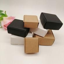 10 шт., коробка из черной/белой/крафтовой бумаги для упаковки сережек, ювелирных изделий, подарочные картонные коробки, «сделай сам», коробка ...