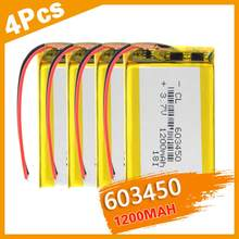 1/2/4 Pcs nowy przenośny 1200mAh polimer Li bateria Lipo 3.7v akumulator 603450 litowo-jonowy wbudowany moduł PCB