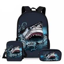 Отличный белый акула школа сумки комплект 3 предмета ребенок круто подводный мир животное рюкзак студент книга сумка ребенок сумка через плечо сумка