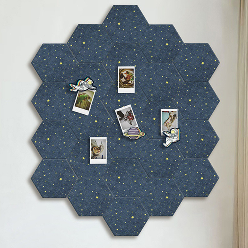 Apprehensive Fel Hexagon Starry Sky Background Board Diy Puzzle Photo Household Message Board Home Board Decoration M Elegant In Style