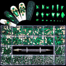 Misscheering 21 Grid Green Nail Rhinestones for DIY Manicure 2021 Fashion Multi-Size Glass Nails Accessories for Art Decoration