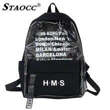 Transparent Harajuku Backpack Clear Canvas Letter Women Backpacks School Bag For Teenage Girls Female Travel Bag Bookbag Mochila