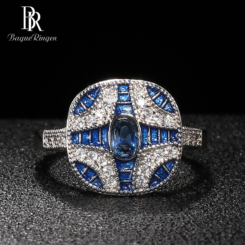 Bague Ringen Trendy Silver 925 Jewelry Gemstones Rings For Women Geometry Sapphire Zircon Blue Engagement Party Ring Female Gift