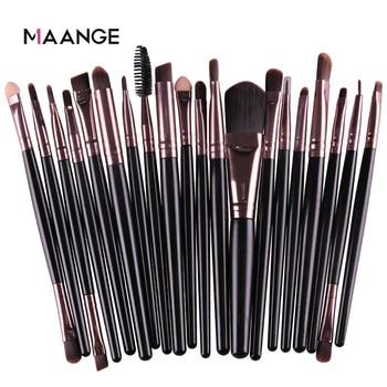 Maange 6/15/20 pçs conjunto de escova de maquiagem sombra mistura fundação pó sobrancelha blush cabeça dupla escova beleza compõem kit ferramenta 1