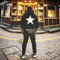 Wear of God fog double line hooded High Street Style Men's fashion ins High Street five pointed star lovers autumn and winter