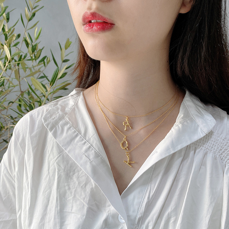 European Style Fashion 925 Sterling Silver 26 Letters Pendant Necklace Minimalism Ladies Jewelry Birthday Gift For Women