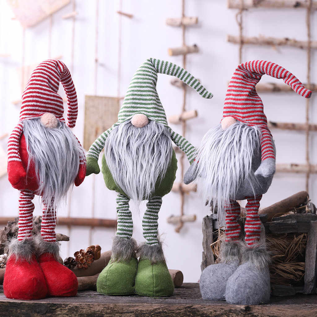 2019 Xmas New Year Diy Christmas Striped Faceless Doll Standing Posture Doll Christmas Items Santa Claus Doll Decoration #15