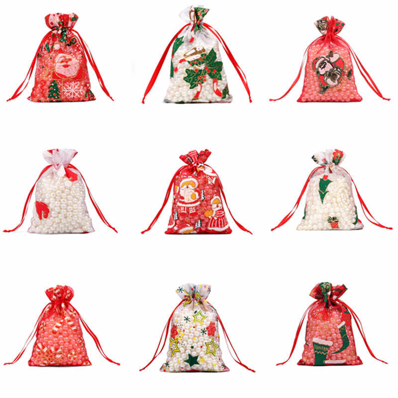 50/100pcs 10X15 13X18cm Colored red white Christmas Organza Bag Gauze Element Jewelry Bags Packing Drawable Organza Gift Bags 55