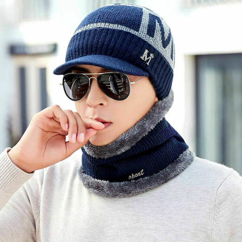 Unisex Winter Camping Hat + Scarf Knit Ski Cap Fleece Beanie Wool Warm Men Women Beanie Hat Scarf Set