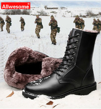 Allwesome Genuine Leather Winter Mens Ankle Boot Combat Military Tactical Warm Martin High Boots Male Work Shoes Plus Size 38-50 недорого