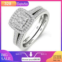 Szjinao Engagement Ring Diamond Double Bridal Set 2 Ring For Women With Paved Micro Lab Diamond Luxury Platinum Wedding Jewelry