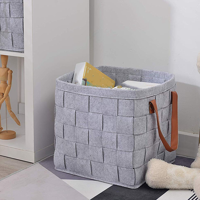 Felt Storage Baskets With Handles Soft Durable Toy Storage Nursery Bins Home Decorations (Grey)